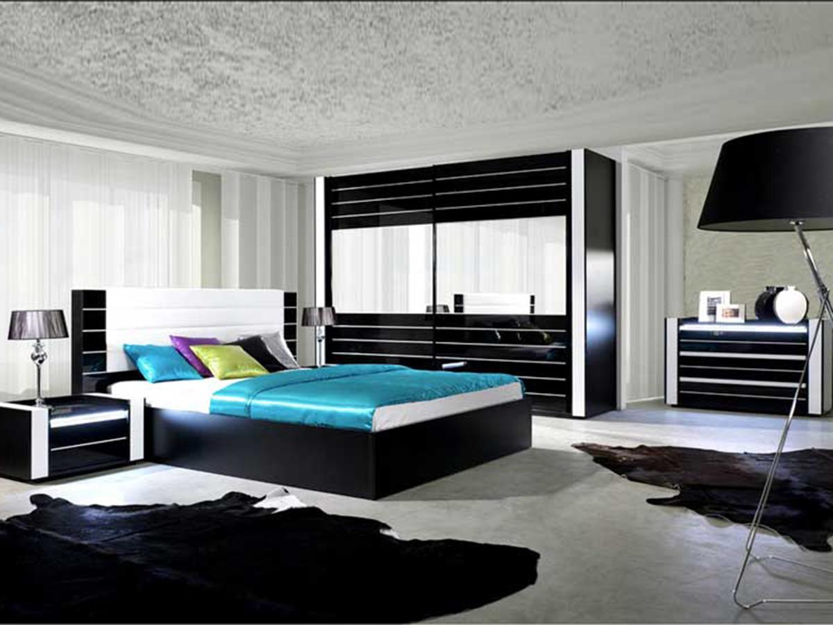Camera matrimoniale Los Angeles nero e bianco con letto box ...